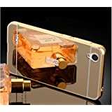 CEDO Premium Luxury Metal Bumper Acrylic Mirror Back Cover Case For Vivo Y31 / Y31L - Gold