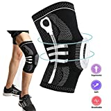 Knee Support Brace Compression Sleeve, Elastic & Breathable Silicon Padded Nylon Kneepads Patella Stabilizer, Hinged Knee Protector Wraps Pad for Meniscus Tear, Arthritis, Runing, Men & Women/Medium