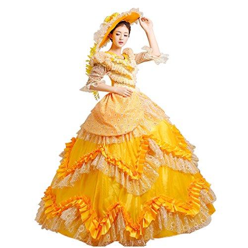Lagerter Cosplayitem Maskerade Königin Palace viktorianischen Damen Kleid Kleid Gothic Gelb Prinzessin Kostüm Mädchen Abendkleid SrwBEqS