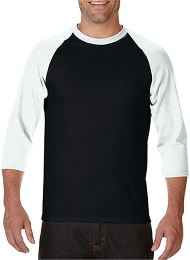 SFYZY Sudadera de Manga Larga en Contraste de algodón para Hombre Cuello Redondo Raglán en Blanco Camiseta de Manga 3/4 Camisa clásica de béisbol de Color Puro para Hombre