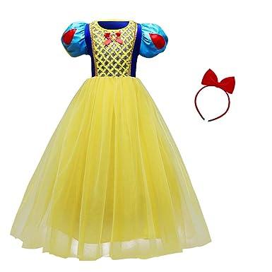 1bdfab6807d54 OBEEII Filles Blanche Neige Déguisement avec Unicorn Serre-tête Robe de  Princesse Snow White Costume