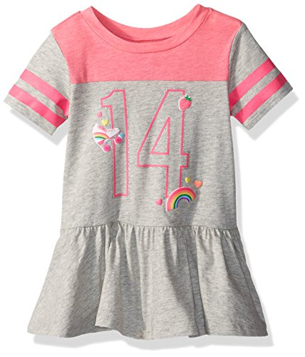 The Children's Place Baby Girls' Short Sleeve Casual Dresses, Heathered Falcon 3851, 18-24 - Emoji Falcon