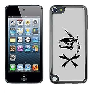 Estuche Cubierta Shell Smartphone estuche protector duro para el teléfono móvil Caso Apple iPod Touch 5 / CECELL Phone case / / Unicorn Grey Horse Funny Black /