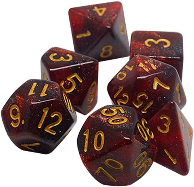 1 Set Polyhedral Dice Set Polyhedral 7-Die Dice Set Dice Set Polyhedral Game Dice Set of D4 D6 D8 D10 D/% D12 D20 Compatible with Table Card Games Starry Red Black
