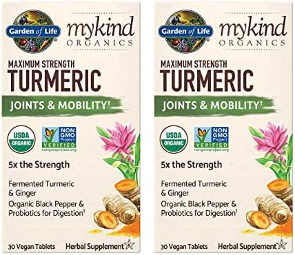 MyKind Organics Maximum Strength Turmeric Joints & Mobility 5X The Strength with Fermented Turmeric and Ginger, Organic Black Pepper and Probiotics for Digestion (30 Vegan Tablets) Pack of 2