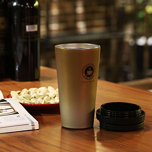 Home / portable Stainless Steel Coffee Mug Insulation / cold Beer Cup acuum Insulated Double-Walled 18/8 Stainless Steel Hydro Travel Mug Coffee color 17OZ (500ml) by SEPT MIRACLE (Image #7)