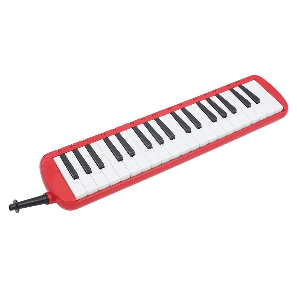Melodica Musical Instrument Full Sets Piano Style Melodica Educational 37 Keys Portable Musical Instrument With Carrying Bag Straps 2 Mouthpieces Tube Gift Toys For Kids Music Lovers Beginners Red for by Shirleyle-MU (Image #5)