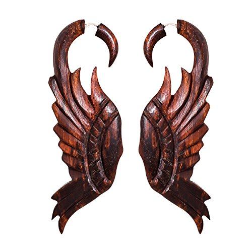 Crafted studio Women's Tibetan Antique Wooden Carved African Tribal Big Fake Gauge Earrings 3.2