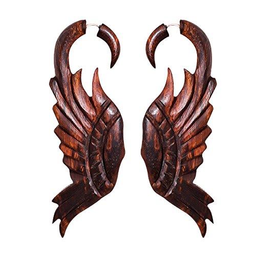 Tribal Wood Earrings - Crafted studio Women's Tibetan Antique Wooden Carved African Tribal Big Fake Gauge Earrings 3.2
