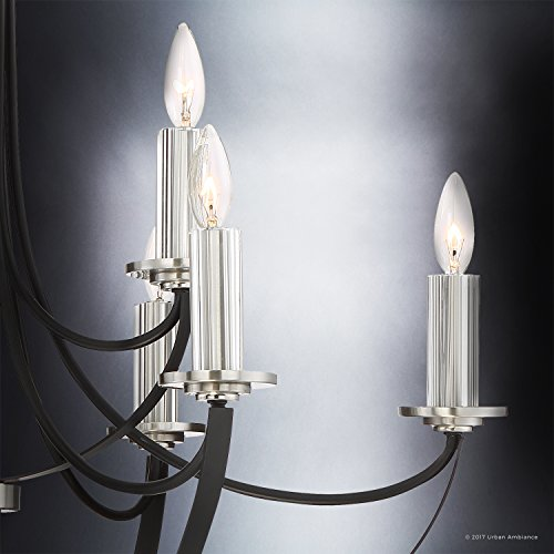 Luxury Mid-Century Modern Chandelier, Large Size: 31.5''H x 32''W, with Colonial Style Elements, Silver Trimmed Design, High-End Black Silk Finish and Exposed Bulbs, UQL2012 by Urban Ambiance by Urban Ambiance (Image #4)