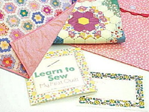 Learn to Sew MY FIRST QUILT Kit - Pink // Moda Fabric + Quilt Pattern + Quilt Label + Pillow Cover (First Quilt Kit)