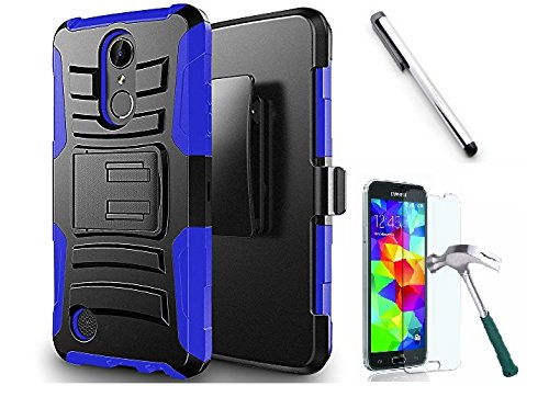 Belt Clip Blue Faceplate (Luckiefind Case Compatible With Motorola Moto E5 Play/Moto E5 Cruise, Dual Layer Hybrid Side Kickstand Cover Case With Holster Clip, Tempered Glass Screen Protector & Stylus Pen (Holster Blue))