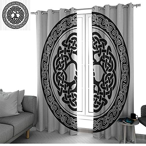 bybyhome Celtic Decor Blackout Curtains Panels for Bedroom Native Celtic Tree of Life Figure Ireland Early Renaissance Artsy Medallion Design Curtains Black White W120 x L84 Inch