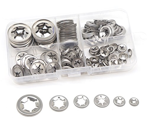 cSeao 150pcs 304 Stainless Steel Starlock Internal Tooth Push On Locking Washers Assortment Kit, M3/ M4/ M5/ M6/ M8/ M10/ ()