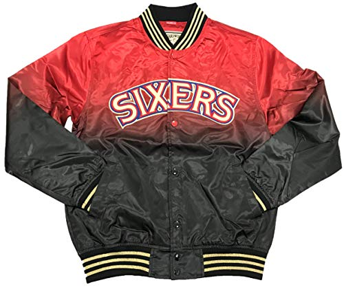 Mitchell & Ness NBA Philadelphia 76ers Chinese New Year Satin Jacket (Black, XL) - Mitchell Mens Jacket