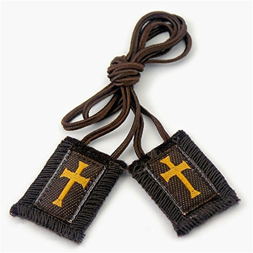 Brown Scapular with Gold Cross - Regular Cord (1011)