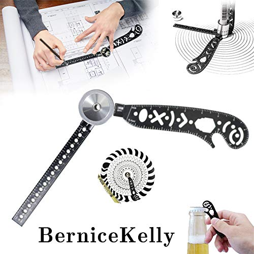 Versatile Magcon Tool Multi-Function Drawing Ruler Creative Drawing Curved Magnetic Ruler Tool Mini Compass Protractor Combo Patterns for Notepad Designers Artists Architects Student