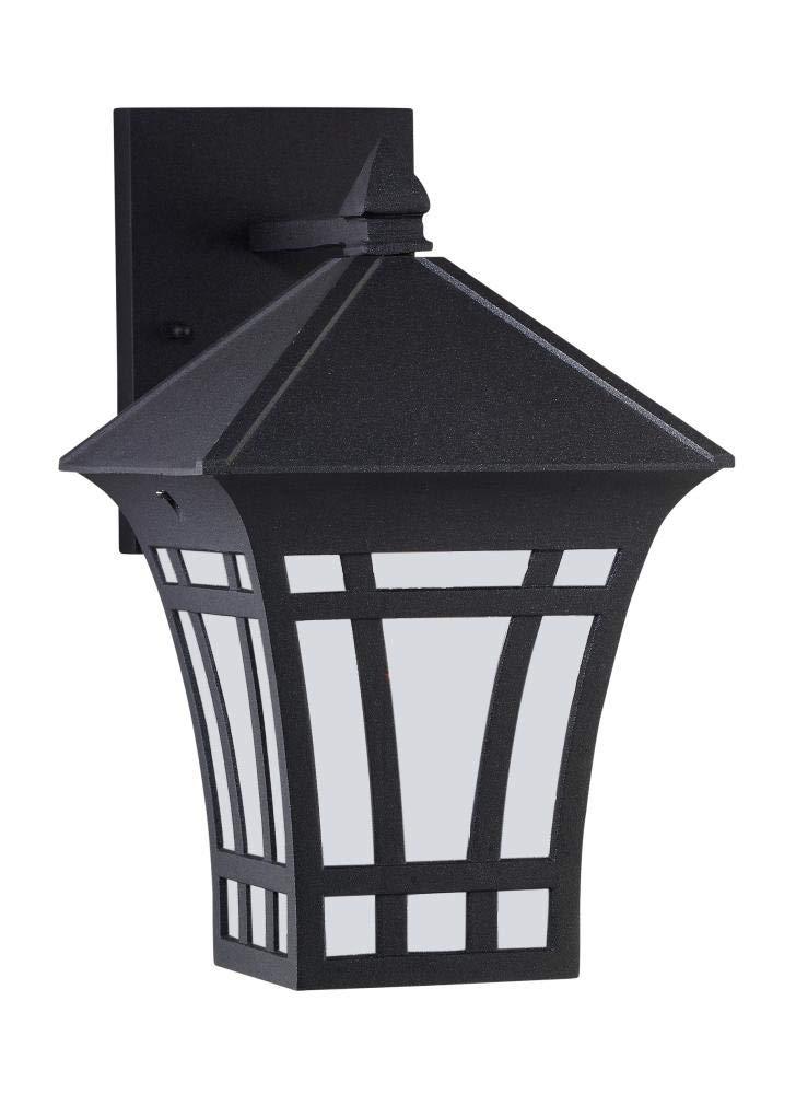 Sea Gull Lighting 82131-12 Herrington One-Light Outdoor Post Lantern with Clear Seeded Glass Panels Black Finish