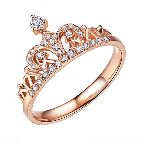 ACEFEEL Rose Gold Plated Cubic Zirconia Crown Tiara Promise Wedding Ring For Her Size 8