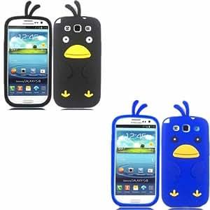 2 Pack Chicken Silicona Concha Caso Cubrir Para Samsung Galaxy S3 SIII i9300 / Black And Blue