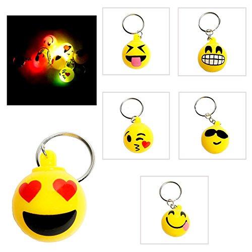 Flashing Led Light Up Toys Emoji Face Keychain 12pack 1 Dozens
