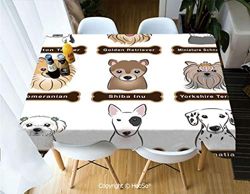 (HooSo Fabric Rectangular Table Cloth, Washable Table Cover Perfect for Christmas, Thanks Giving, Dinner Parties, BBQ and Everyday Use,Dog Lover Decor,Various Type of Dogs Nameplate)