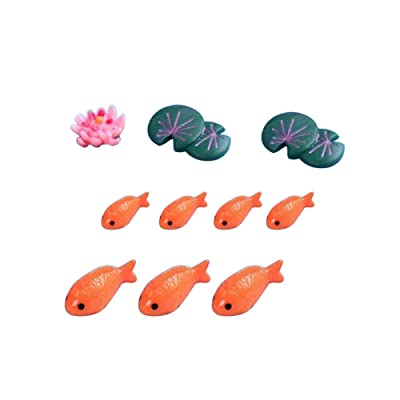 zhenleisier Miniature Garden Decoration,10Pcs Resin Fish Fake Lotus Leaf Flower Fairy Tale Garden Accessories Miniature Landscape Bonsai Doll House Ornament Decor Orange 10pcs: Kitchen & Dining
