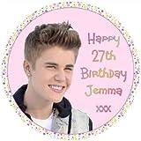 """Justin Bieber personnalisé 7.5"""" ROND GlaçAGE Anniversaire Figurien Pour Gâteau - VEUILLEZ NOUS ENVOYER UN PRÉNOM ET âge VIA 'CADEAU MESSAGE' OU 'CONTACT VENDEUR' OPTION"""