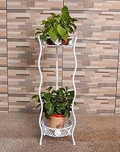 ZENGAI 2 piezas de equipo, multi-capa de flor de macetas marco de flores marco interior creativa de dos pisos macetas de flores sala de balcón plataforma de flores Jardinería