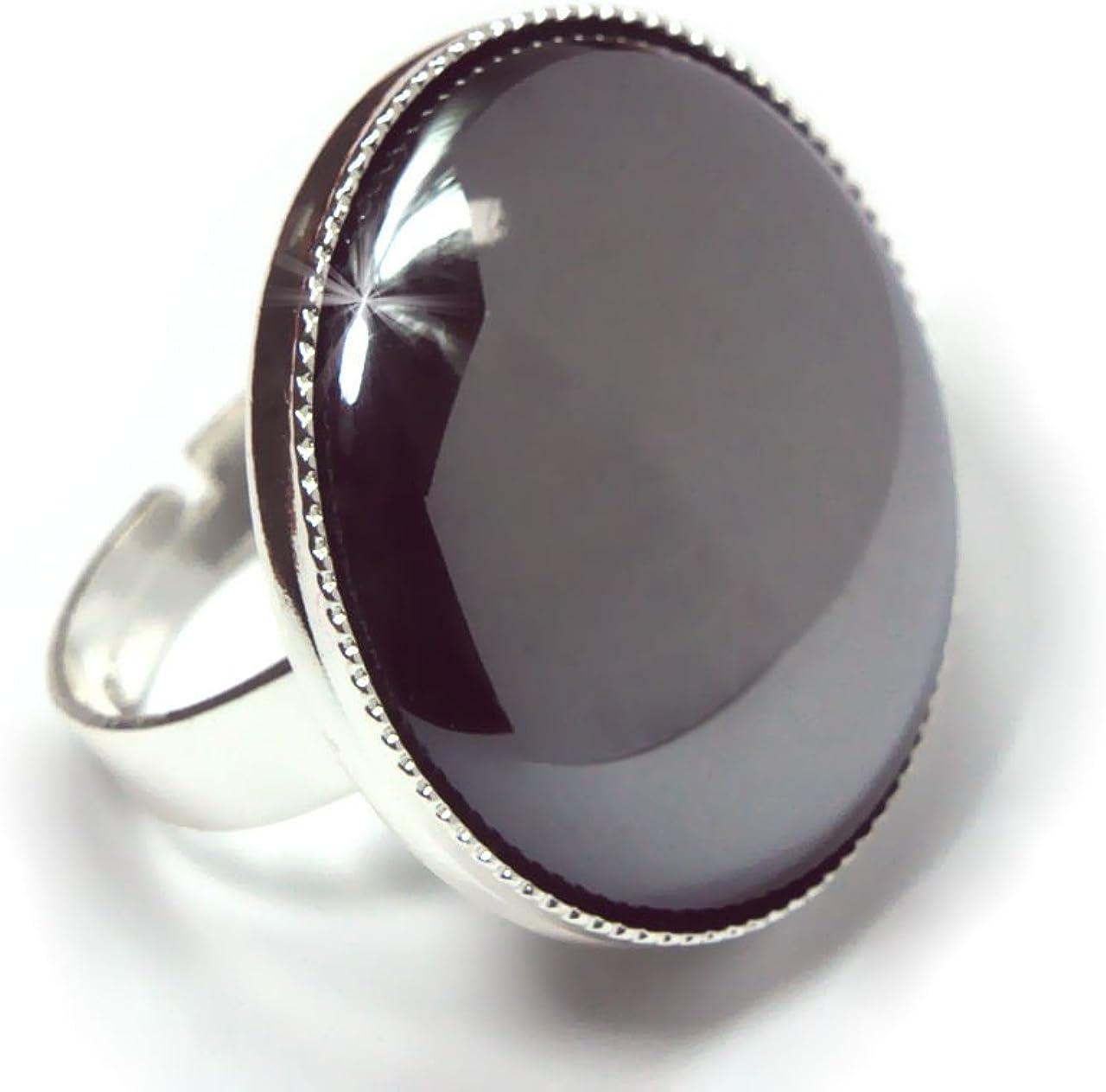 Plata 925 Chapado en Anillo Clásico Universal Ajustable Tamaño 25mm Hematita Ronda de Cristal checo de Piedra hechos a Mano BohemStyle