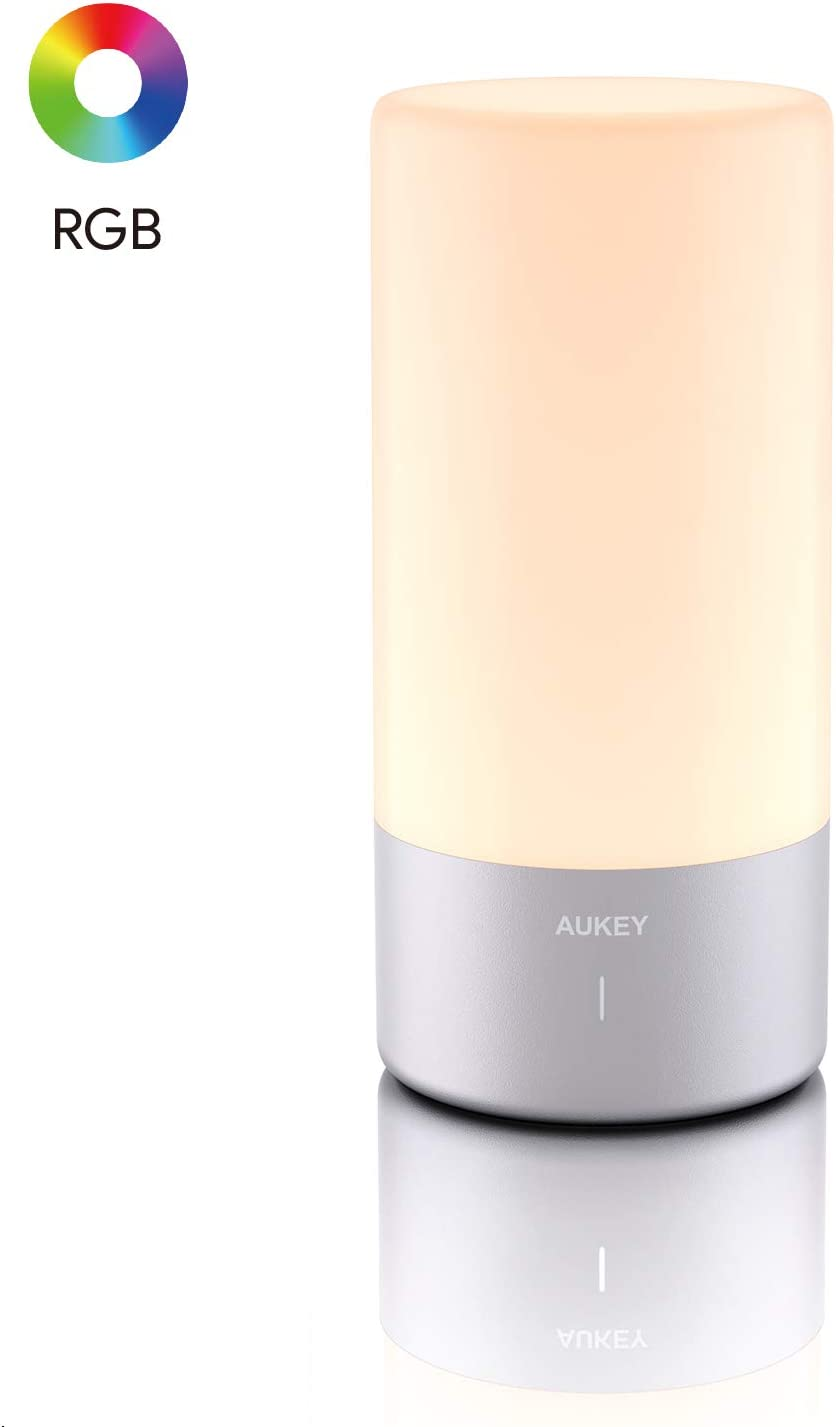 AUKEY Table Lamp Touch Sensor Bedside Lamp Color Changing RGB & Dimmable Warm White Light Night Light for or Bedrooms, Living Rooms and Office【2020 Updated Version】 - -