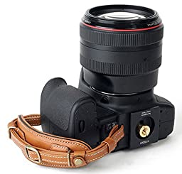 Herringbone Heritage Leather Camera Hand Grip Type 1 Hand Strap for DSLR with Multi Plate, Camel Brown