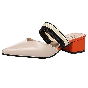 Daorokanduhp Sandals&Slippers Mocasines para Mujer con Puntera Puntiaguda, tacón Cuadrado, Bloque de Color,