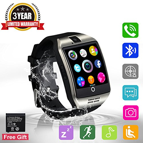 Bluetooth Smart Watch Touchscreen with Camera,Unlocked Watch Cell Phone with Sim Card,Smart Wrist Watch,Waterproof Smartwatch Phone for Android Samsung IOS Iphone 7 Plus 6S Men Women Kids Girls (Q18)
