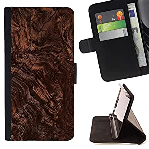 - Brown Ground Earth Wood Imitation - Estilo PU billetera de cuero del soporte del tir???¡¯????n [solapa de cierre] Cubierta- For Samsung Galaxy S6 £š Devil Case £©