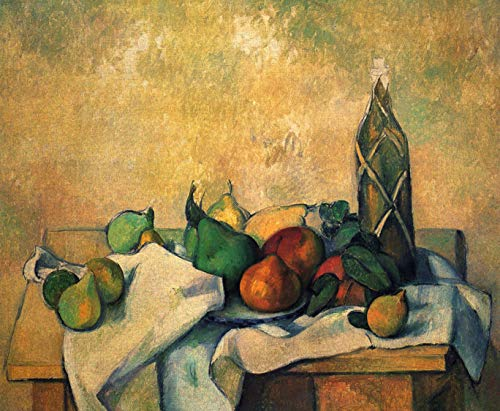 Home Comforts Peel-n-Stick Poster of Cézanne, Paul - Still Life, Rum Bottle Vivid Imagery Poster 24 x 16 Adhesive Sticker Poster Print