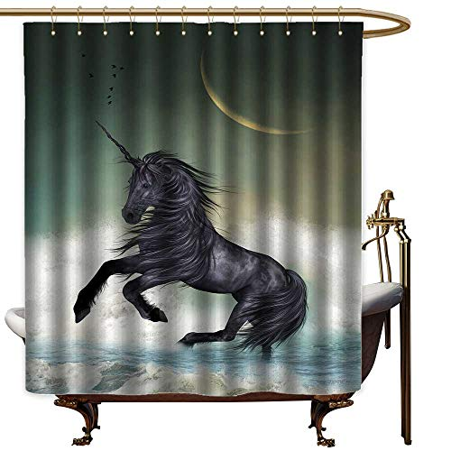 LewisColeridge Shower Curtain for Bathroom Fantasy,Black Unicorn in The Ocean with Moon Abstract Mythical Creatures Hand Drawn Design,Multicolor,EVA Rust Proof Grommets Bathroom Curtain 72