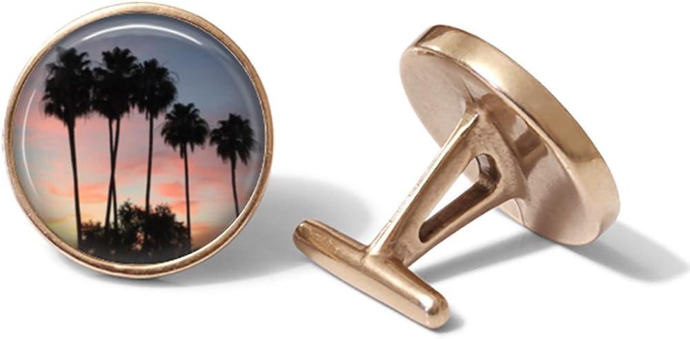 Palm Tree Sunset Cufflinks Solid Bronze