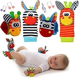 changwei Baby Rattle and Foot Finder Socks,Baby Toys for 0-12 Months Infant Wrists Rattle and Foot Finder,2pcs Wrist + 2pcs Socks Baby Soft Handbells Hand Wrist Strap Rattles (4 Pcs/Set)