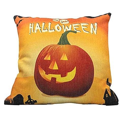 Fheaven 45cm*45cm Halloween Pumpkin Square Pillow Cover Cushion Case Pillowcase Zipper Closure