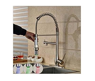 PST@ Modern Handheld LED Light Sprayer Kitchen Faucet Tap Single Handle Deck Mount RGB Light Kitchen Mixer Taps