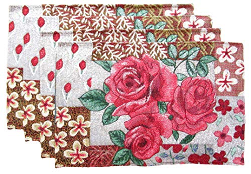 (Country Garden Flowers and Fruits Woven Tapestry Place Mats (Red Rose Trio))