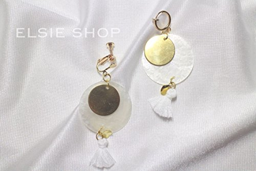 Simple and original hand-made brass Japan transparent ultra-thin mirror shell tassel earrings no pierced ear (Pierced Mirror)