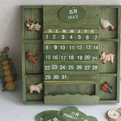 Best Quality - Calendar - Creative Calendar Literary Style Wooden Home Furnishing Decorative calendars DIY Cute Kawaii Wooden Perpetual Wall Calendar - by Chipsua - 1 PCs