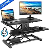 """EleTab Electric Height Adjustable Standing Desk Converter Sit to Stand up Power Riser 32"""" Black Tabletop Workstation fits Dual Monitor"""