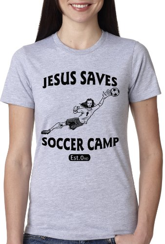 Crazy Dog TShirts - Women's Jesus Saves Soccer Goalie Funny T Shirt for Women - Camiseta Para Mujer