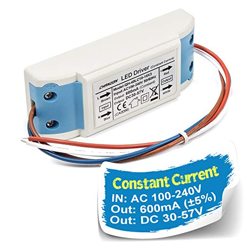 Chanzon LED Driver 600mA (Constant Current Output) 30V-57V (In: 100-240V AC-DC) (10-18)x3W 20W 30W 36W 45W 54W Power Supply 600 mA Lighting Transformer Drivers for High Power COB Chips (Plastic Case) (48 Volt Driver)