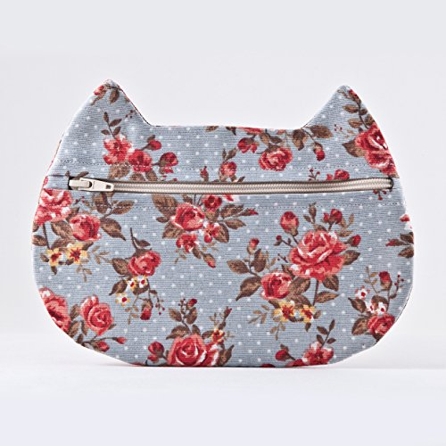 Blue Cosmetic Bag, Cat Makeup Bag, Polka Dots Pencil Case, Gifts for Travelers, Toiletries Bag, Beauty - Polka Cat