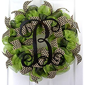 Moss Green Black Vine Monogram Letter Initial Welcome Mesh Door Wreath - LOTS OF COLORS!! 57