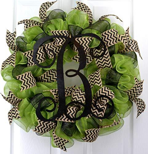 Moss Green Black Vine Monogram Letter Initial Welcome Mesh Door Wreath - LOTS OF ()